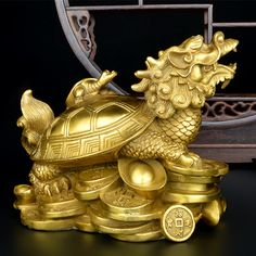 Gold Feng Shui Dragon Turtle Tortoise Statue Figurine Coin Money Wealth for sale online Feng Shui Gold, Feng Shui Tips, Feng Shui Dragon, Feng Shui Symbols, Asian Sculptures, Frozen Wallpaper, Chinese Buddhism, Gold Money, Zen Art