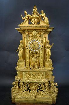 Antique Clocks : Palatial French Louis Philippe Ormolu Mantle Clock -Read More – Mantel Clocks, Old Clocks, Antique Clocks, Mantle, Plywood Furniture, Antique Furniture, Classic Clocks, Unusual Clocks, Wall Clock Online