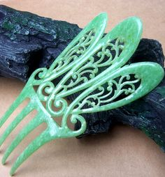 Art Deco Hair Comb Jade Green Celluloid Openwork Mantilla Design from spanishcomb on Ruby Lane