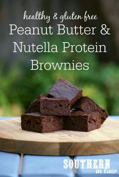 This Healthy Nutella and Peanut Butter Protein Brownies Recipe is a must try. Fudgy and full of flavour, you would never guess they are low fat, low carb, flourless, gluten free, healthy or grain free!