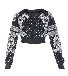 RED FOX Cropped sweatshirt top Long sleeves Paisley bandana print on front and sleeves