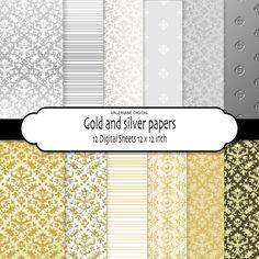 Gold digital paper silver digital paper by ValerianeDigital  https://www.etsy.com/listing/96330842/gold-digital-paper-silver-digital-paper?ref=shop_home_active_17