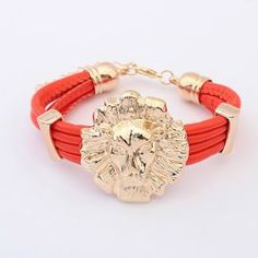 Fashion Lion Head Embellished Colored Cuff Bracelet For Women