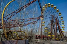 An amusement park in the ghost town of Pripyat, Russia, which was completely evacuated in April 1986 due to the explosions that occurred at the nearby Chernobyl Nuclear Plant's Reactor No. 4,