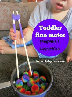 Toddler fine motor activity - pompoms and chopsticks from Learn with Play at Home Montessori Toddler, Toddler Play, Montessori Activities, Toddler Learning, Toddler Preschool, Fun Learning, Preschool Art, Learning Activities, Toddler Fine Motor Activities