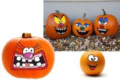 Idées de #decorations originales pour vos #citrouilles d' #Halloween.