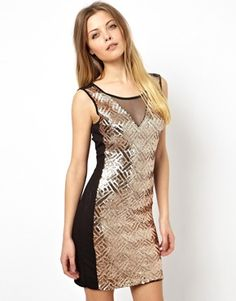 Vero Moda Sequin Mesh Insert Dress Could add a fringe to this to give it length and make it more #flapper