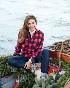 J.Crew women's buffalo check shirt-jacket, tissue turtleneck T-shirt, Collection suede leggings, heathered cotton socks and Penelope Chilvers™ Incredible boots.