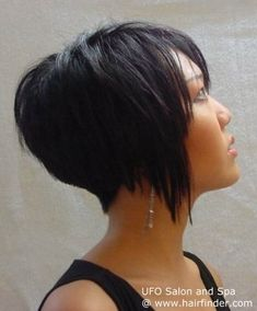 Inverted bob with bangs.