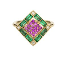 Sabine G Harlequin collection white gold ring with white diamonds, emeralds and pink sapphires.