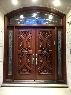 Here is a sampling of our hand made Double Entry Doors. More designs are available and we can also help create your own custom design. House Main Door Design, Main Entrance Door Design, Wooden Front Door Design, Double Door Design, Room Door Design, Wooden Double Doors, Double Entry Doors, Wooden Front Doors, Front Entry