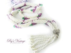 Unique Vintage Braided Faux Pearl by PegsVintageJewellery on Etsy