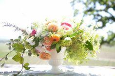 Flowers in Milk Glass Vase