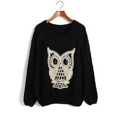 Loose Fit Scoop Neck Owl Print Sequin Decoration Irregular Bottom Long Sleeves Knitting Sweater For Women (BLACK,ONE SIZE) China Wholesale - Sammydress.com