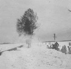 Russian winter 1941-42: German soldiers are trying to clear the snow from a rail-bed in the middle of a blizzard. We can safely assume their efforts came to naught. This was the environment the German army met in Russia during winter: vicious weather conditions and an overall crippling attack by Nature, far worse than all Soviet counter-attacks.