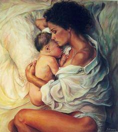 """Mother and child"", by Dorian Florez Breastfeeding Art, La Madone, Arte Online, Vida Real, Madonna And Child, Illustrations, Rembrandt, Mother And Child, Mother Art"