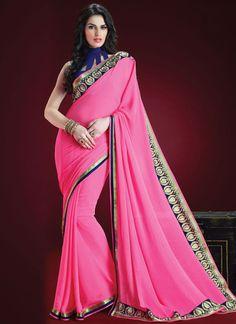 #Pink #Georgette #Jacquard #Saree