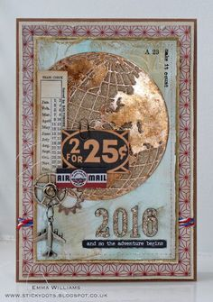 That's Life: Something New. Created by Emma Williams for the Simon Says Stamp Monday Challenge using products by Tim Holtz and Sizzix Card Making Inspiration, Making Ideas, Masculine Art, Christmas Globes, Tim Holtz Dies, Card Tags, Men's Cards, Postcard Art, Ranger Ink