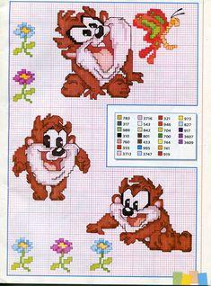 Bébés Disney, Taz e Bugs Bunny Cross Stitch Boards, Cross Stitch Fabric, Cross Stitch Baby, Cross Stitch Animals, Cross Stitching, Cross Stitch Embroidery, Disney Stitch, Cross Stitch Designs, Cross Stitch Patterns