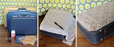 Fabric Covered Suitcase-got my vintage suitcases in the attic. Great idea!