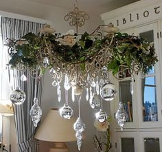 Silver and white Christmas Shabby Chic Christmas, Elegant Christmas, Noel Christmas, Beautiful Christmas, Winter Christmas, Vintage Christmas, Christmas Tree Decorations, Holiday Decor, Christmas Chandelier Decor