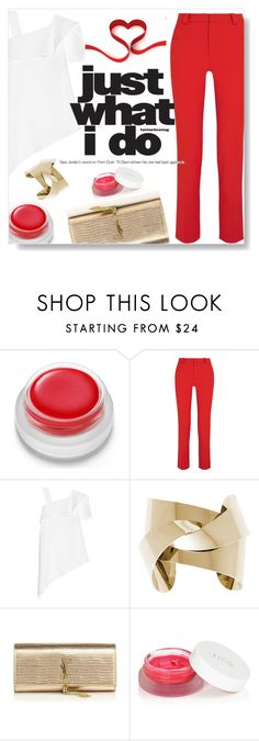 """""""Red001 (Top Fashion Set for February 12)"""" by dorachelariu ❤ liked on Polyvore featuring rms beauty, Roland Mouret and Yves Saint Laurent"""