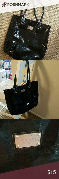 Nine West Purse Nine West Purse Black patent leather  Great condition inside and out EXCEPT for wear on the straps (see picture) * priced and sold as is based on strap wear. Nine West Bags