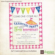 awesome Free Printable Carnival Birthday Party Invitations