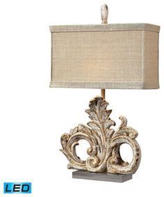 Dimond Lighting Springfield Scroll Table Lamp w/ Acrylic Base - LED Offering Up traditional-table-lamps