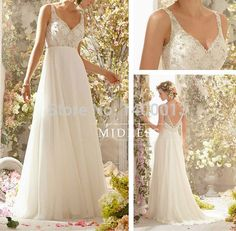 Top Quality Off Shoulder V Neck Beaded Ivory Chiffon Beach Wedding Dress Pregnant Empire Simple Romantic Vestido De Noiva-in Wedding Dresses from Weddings & Events on Aliexpress.com | Alibaba Group