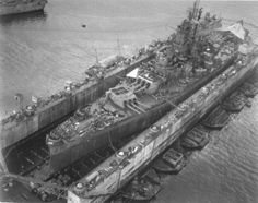 USS South Dakota in a portable dry dock, 1945