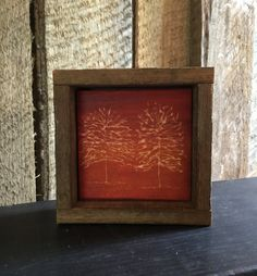 Autumn Wood Decor, Fall Home Decor, Rustic, Minimalist, Mantle Decor, Shelf Art, Red, Orange, Engraved Wood, Reclaimed Wood, Gift, Office