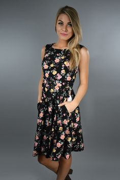 Floral Fields Dress ~ Black