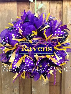Baltimore Ravens Football Wreath Ready To Ship by TheWhimsicalDoor