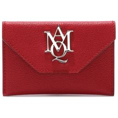 Alexander McQueen Insignia Envelope Card Holder ($180) ❤ liked on Polyvore featuring bags, wallets, full grain leather wallet, alexander mcqueen bags, card case wallet, red bag and alexander mcqueen wallet
