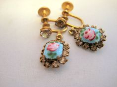 Vintage Guilloche Earrings Pink Roses on Blue by VintageRenude - 22.00