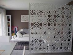 It houses a wooden interior with a traditional motif Source by sylvianeschwald Moroccan Design, Moroccan Decor, Partition Door, Wooden Partitions, Loft Room, Woman Cave, Interior Decorating, Interior Design, Home Renovation