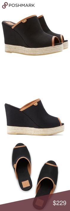 "NIB Tory Burch Agatha 100 mm Canvas Mule The height of easy elegance, the leather-trimmed Canvas Mule reworks a classic espadrille. Set on a high wedge with a natural jute sole, its leg-lengthening, peep-toe design is clean-lined and sturdy, finished with a tiny gold T-logo flap. A great day-to-evening style!   4.5"" covered wedge heel; 1.5"" platform; 3"" equiv.  Open toe. Covered vamp. Leather piping.  Golden logo button.  Braided jute trim around sole.  Rubber outsole.  Made in Brazil.  New…"
