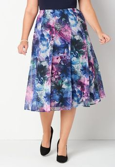 075da6ad82 Iconic Floral Printed Plus Size Skirt 0001-MULTI Plus Size Skirts, Tie Dye  Skirt