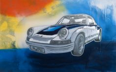 """Porsche 911 Carrera RS"" 2014 lacquer on polymer painting by Rand Heidinger. (30x48 in)  for the March 2014 Exhibition in conjunction with Porsche Winnipeg 660 Pembina Hwy."