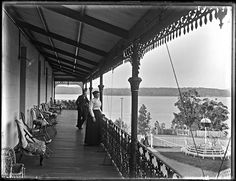 Balcony of the Toronto Hotel, Toronto, NSW, 19 September 1900 Newcastle Town, Toronto Hotels, Quay West, Canoe Club, Music Garden, Tourist Info, Capital Of Canada, Brookfield Place, Toronto Island