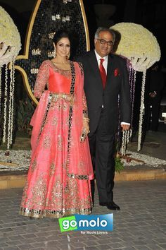 Sridevi & Boney Kapoor at Riddhi Malhotra's wedding reception at Hotel JW Marriott in Mumbai