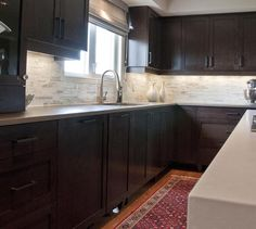 Kitchen Backsplash-Really like this with the dark cabinets