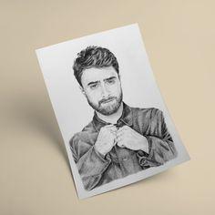 Daniel Radcliffe Portrait Drawing, Photo to Sketch, Pencil Sketch. Photo Sketch, Daniel Radcliffe, Handmade Art, Personalized Gifts, Art Pieces, Pencil, Portrait, Drawings, Unique