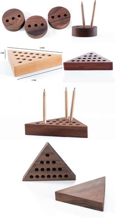 Wooden Triangle & Round Pen Pencil Holder