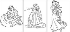 Rapunzel Tangled Birthday Party Activity-Free Coloring pages to download.  They are so cute. Would make a fun party activity or send home as a gift for the kids.