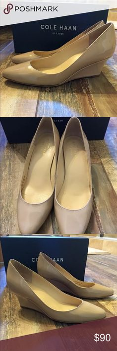 Cole Haan Nude Wedge Pumps 5.5 Preowned Cole Haan Hilaria Wedge Pumps 5.5 in Maple Sugar Patent Cole Haan Shoes Wedges