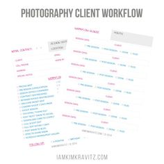 Photography Client Workflow Worksheets Digital by iamkimkravitz