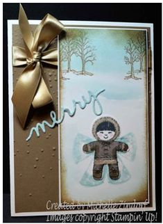 Merry Snow Angel Stampin Up! Card created by Michelle Zindorf using the Cookie-Cutter Christmas Stamp set Stampin Up Christmas, Christmas Greetings, Handmade Christmas, Holiday Cards, Christmas Cards, Christmas 2016, Stampin Up Cookie Cutter, Christmas Cookie Cutters, Scrapbooking
