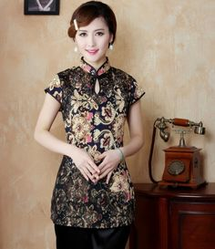 Fashion gold Chinese Women's clothing Polyester satin Blouses Shirt tops Size M L XL XXL XXXL Free Shipping TD21